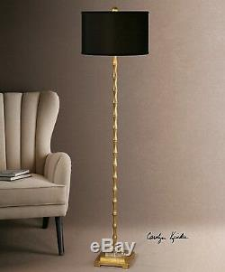 Quindici Aged Gold Metal Tropical Bamboo Shape Crystal Accent 65 Floor Lamp