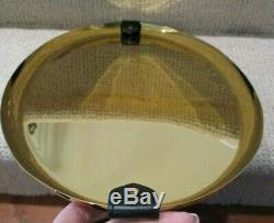 RALPH LAUREN HOME Wyatt Gold Oval Serving Tray with Black Leather Accents