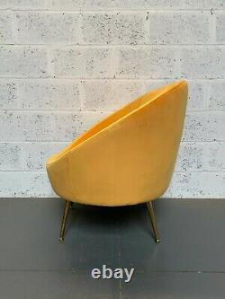 Rare Soft Yellow Velvet Orb Chair Brushed Gold Metal Legs Accent Chair £179.99