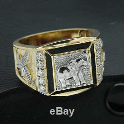 Real 10k Yellow Gold Accent Elephant & Flying Eagle Men's Ring Round Cut Diamond