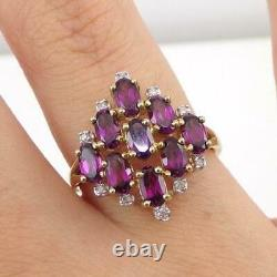 Red Garnet Diamond Accent Cluster Modernist 10K Yellow Gold Ring Size 7.5 LHH2