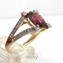 Red Garnet Diamond Accent Dome Modernist 10K Yellow Gold Ring Size 7.5 LHI2
