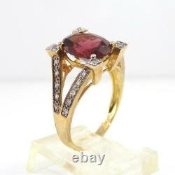 Red Garnet Diamond Accent Dome Modernist 10K Yellow Gold Ring Size 7 LHH2