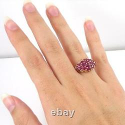 Red Ruby Cluster Diamond Accent Filigree 10K Yellow Gold Ring Size 7 LHH2