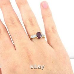 Red Ruby Diamond Accent Modernist 10K Yellow Gold Ring Size 7 LHJ2