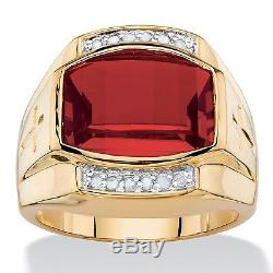 Red Ruby Mens 18k Gold Diamond Accent Gp Cross Ring Size 8 9 10 11 12 13