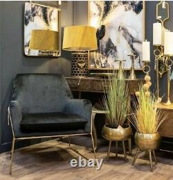 Remy Black Brass Gold Velvet Accent Club Armchair Occasional Longe Tub Chair