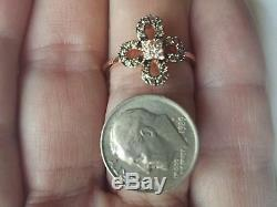 Roberto Ricci Natural Brown & White Diamond Accent Clover Ring in 14K Rose Gold