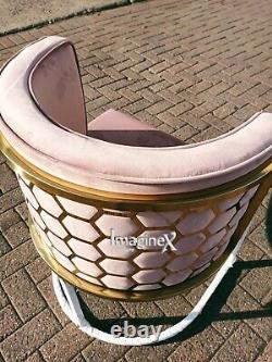Roma Pink/Gold Back Tub Accent Chair