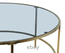Round Coffee Table Centre Accent Table 90cm Smoked Glass Gold Metal Frame