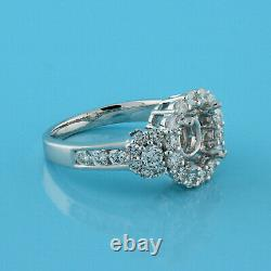 Round Diamond Solitaire Halo Semi Mount Ring 18K White Gold 1.17 CTW Accents 5.5