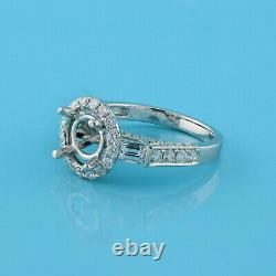 Round Diamond Solitaire Halo Semi Mount Ring 18K White Gold 1.70 CTW Accents 6.5
