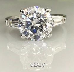 Round Engagement Wedding Ring with accents 4.00ctw. 14k White Gold #4605