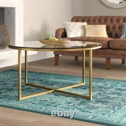Round Glass Coffee Table With Gold Accents