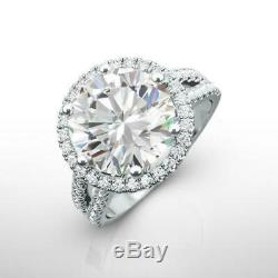 Round Shape 5 Ct 14k White Gold Certified Accents Diamond Ring Halo Vs1 Estate