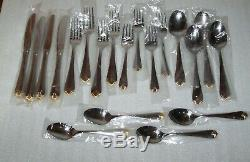 Royal Prestige Stainless 18/8 Flatware 20pc Set (Gold Accents)