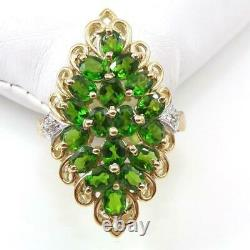 Russian Chrome Diopside Cluster Diamond Accent 10K Yellow Gold Ring Size 8 LHI2