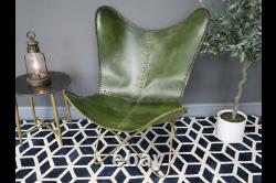 Rustic Green Leather Gold Metal Butterfly Accent Lounge Chair (dx7166)