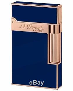 S. T. Dupont Ligne 2, Blue Chinese Lacquer With Pink Gold Accents 16496 New In Box