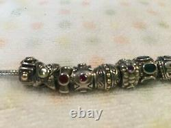 Samuel B Sterling Silver Charm Bracelet With Multi-gem And 18kt Gold Accents