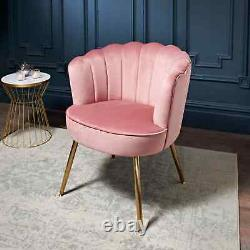Scallop Accent Occasional Leisure Armchair with gold-finish metal legs-Blush