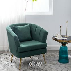 Scallop Back Velvet Armchair Occasional Accent Chair Tub Seat Gold Metal Frame