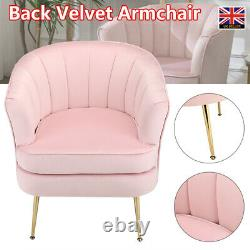 Scallop Back Velvet Armchair Soft Seat Occasional Accent Chair Gold Legs Design