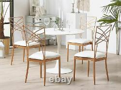 Set of 2 Accent Dining Chairs Gold Metal White Faux Leather Seat Pad Girard