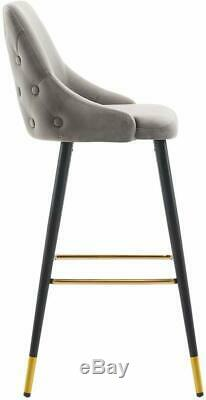 Set of 2 Retro Velvet Grey Padded Seat Kitchen Bar Stool Chairs Gold Accent Legs