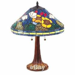 (Set of 2) Tiffany Style Golden Poppy Stained Glass Table Reading Accent Lamp