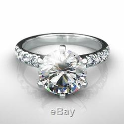Si2 2.6 Carat Diamond Round Shape Ring Solitaire W Accents 18 Kt White Gold