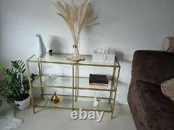 Slim Glass Console Table Modern Accent Sofa Table Hallway Unit Narrow Gold Stand