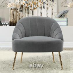 Small Scallop Back Oyster Chair Occasional Armchair Accent Tub Seat Metal Legs