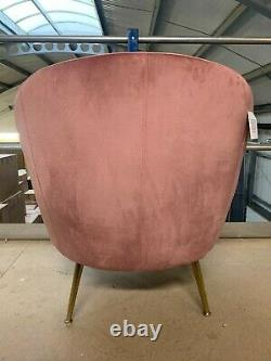 Soft Blush Velvet Orb Chair Brushed Gold Metal Legs Accent Chair