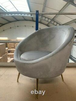 Soft Dove Grey Velvet Orb Chair Brushed Gold Metal Legs Accent Chair