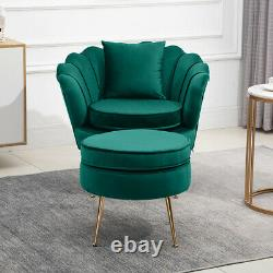 Soft Velvet Oyster Accent Armchairs Sofa Chair with Footstool & Cushion Set Lounge