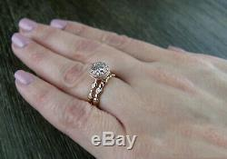 Solid 14K Rose Gold 1.5CT White Round Moissanite Solitaire with Accents Ring Set