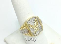 Solid Gold Eagle Diamond Accent 10K Yellow & White Gold Men's Ring Size 10