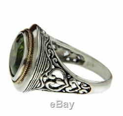 Solid Sterling Silver & Gold Accent Peridot Bali Ring Size 6 R313