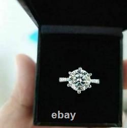 Solitaire With Accents Engagement Prong Ring 2.5 Ct Round Diamond 14K White Gold