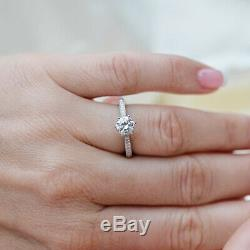 Solitaire With Accents Engagement Ring Solid 10k White Gold 1.50ct Round Diamond