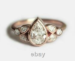 Solitaire with Accent Engagement Ring 1ct Pear Cut Diamond 14ct SOLID Rose Gold