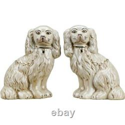 Staffordshire Dog Pair In Antique Cream With Gold Chain Accent Figurines