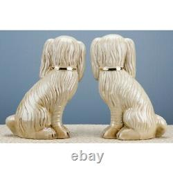 Staffordshire Large Dog Pair In Antique Cream With Gold Chain Accent 13 inches