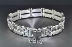 Stainless Steel Diamond Bracelet Mens With14k White Gold Accents 8.5 inch