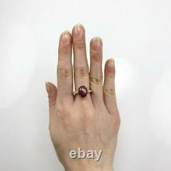 Star Ruby Oval 6.64 Carat Ring With Diamond Accent In 14k Yellow Gold (37229)