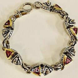 Sterling Silver with 18K Yellow Gold Accents & Pink CZ Bracelet By John Atencio