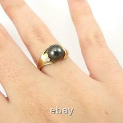 Tahitian Pearl Diamond Accent Modernist 14K Yellow Gold Ring Size 7.5 LHI2