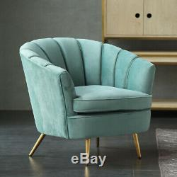 Teal Blue Accent Armchair Upholstered Cocktail Chair Sofa Two Seat Couch Velvet