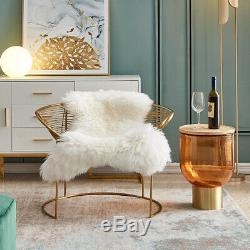 Tub Accent Wire Chair Gold Finish Frame With Faux Fur Seat Cover Pad UK Stock